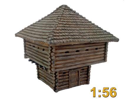 French Indian War Two Storey Log Blockhouse 1:56 (28mm)